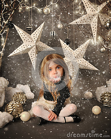 Free Child Blowing Snow On Winter Background Stock Image - 49554431