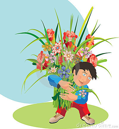 Child with a bouquet.