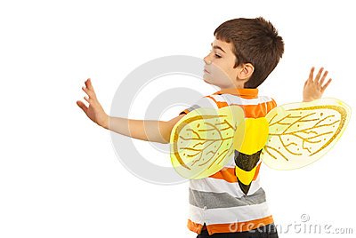 Child boy with bee wings