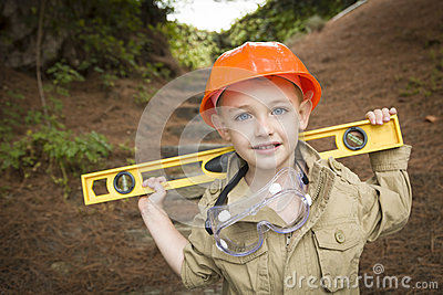 Child Boy with Level Playing Handyman Outside