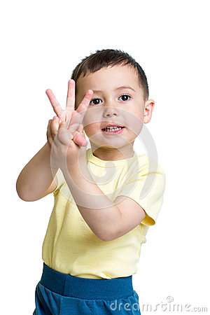 Free Child Boy Show The Number Three With Hands Stock Photo - 40970870