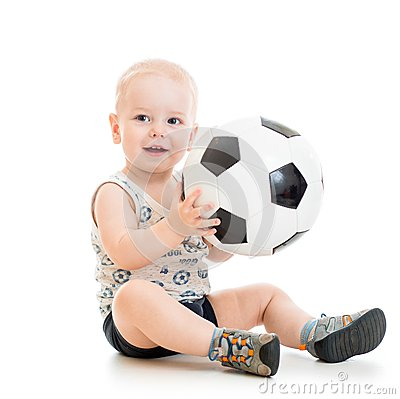 Free Child Boy With Foot Ball Royalty Free Stock Image - 48099916