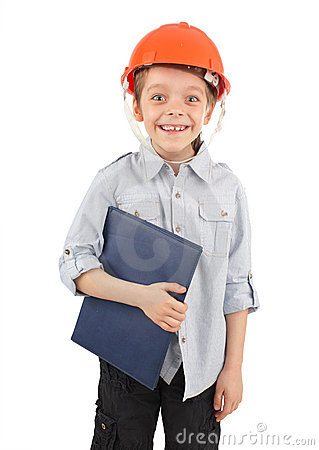 Child in a building helmet
