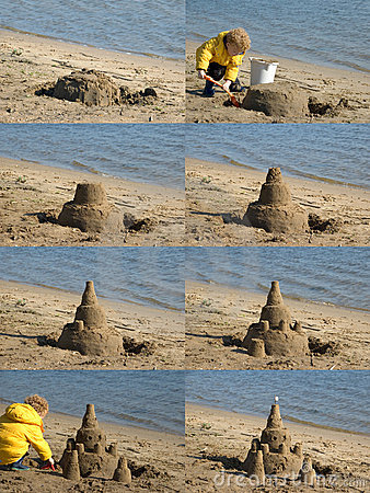 Child Building Sandcastle