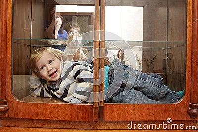Child in built-in closet