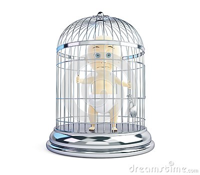 Child in a cage on a white background