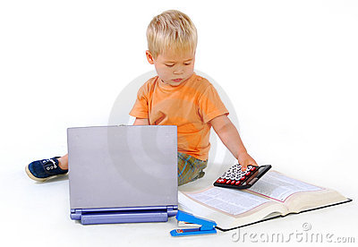 Child with a calculator and a law book