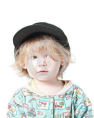 A child in a cap.