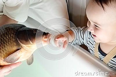 Child and carp