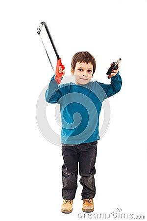 Child carpenter with tools