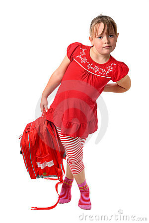Child carrying heavy school bag isolated on white