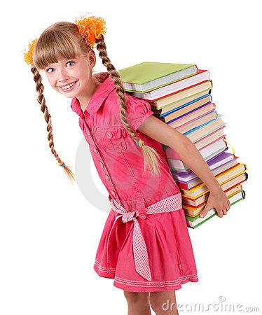 Child carrying pile of books.