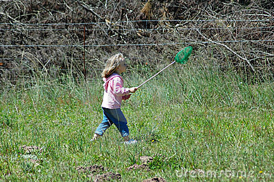 Child catching butterflies