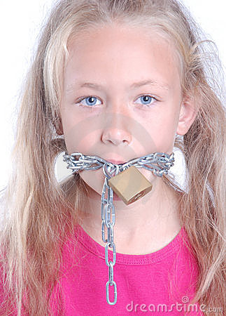 Child with chain around mouth