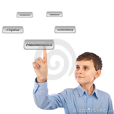 Child choosing his courses with virtual buttons