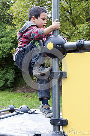 Child climbing at playground