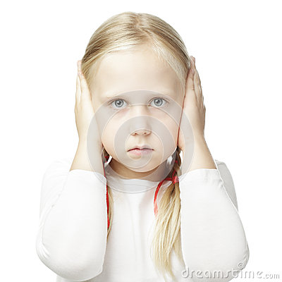 Free Child Closed His Hands Over His Ears Royalty Free Stock Photography - 43295637