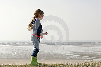 Child on coastline