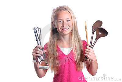Child with cooking tools
