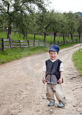 Child on a country road