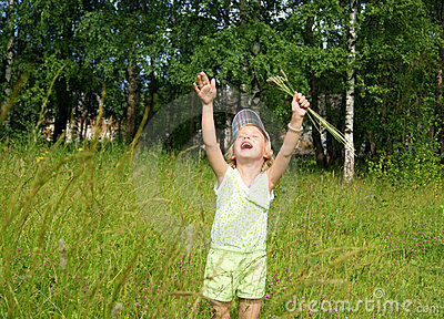 Child cries at meadow