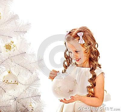 Free Child Decorate White Christmas Tree. Royalty Free Stock Photo - 35353565