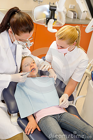 Child dental checkup at stomatology clinic