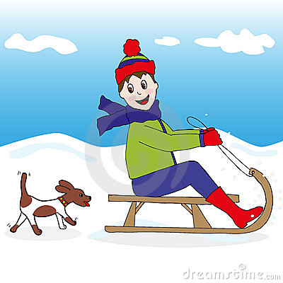 Child and dog on snow