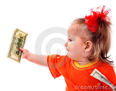 Child with dollar money.