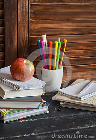 Free Child Domestic Workplace And Accessories For Training And Education - Books, Notebooks, Notepads, Colored Pencils, Pens, Rulers Stock Images - 65677084