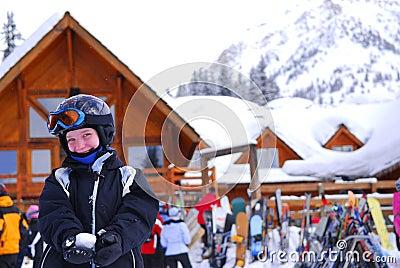 Child at downhill ski resort