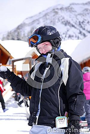 Child at downhill skiing resor