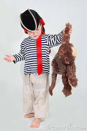 Free Child Dressed As Pirate With Monkey Stock Images - 21637034