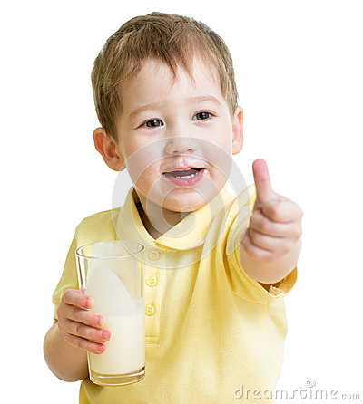 Child drinking milk and showing thumb up