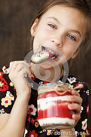 Child eating dessert