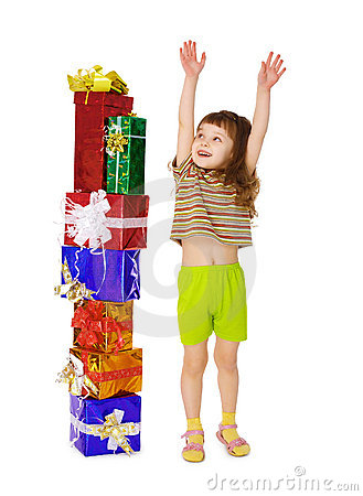 A child enjoys a lot of gifts for his birthday