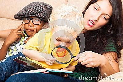 Child exploring book