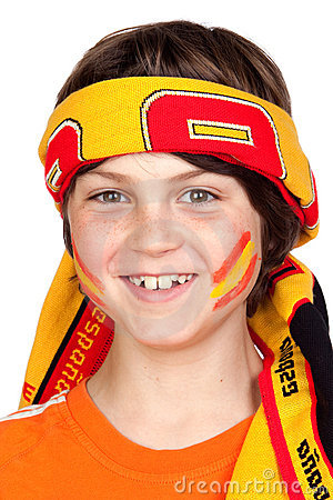 Child fan of the Spanish team with a scarf