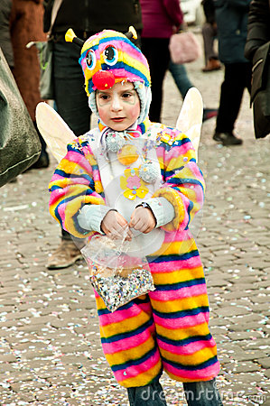 Child with fancydress in Piazza del Popolo Editorial Image