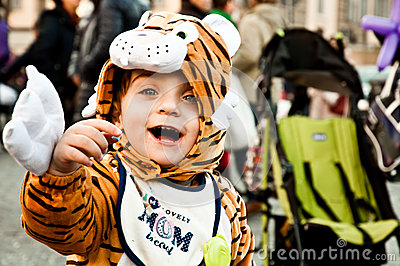 Child fancydressed of tiger in Piazza del Popolo Editorial Stock Photo