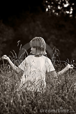 Child in the fields - BW
