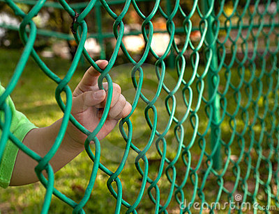 Child finger on fence