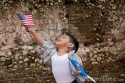 Child with flags