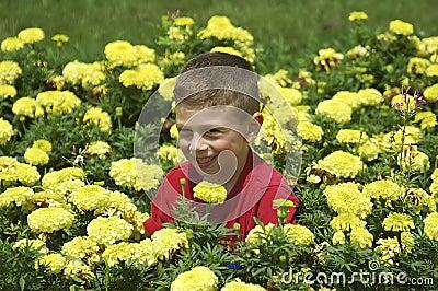 Child in Flower Bed