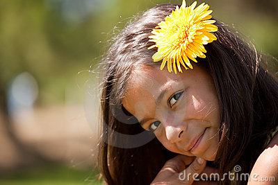 Child with a flower in the head