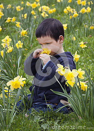 Child in flowers