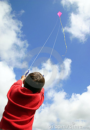 Free Child Flying Kite. Stock Images - 344394