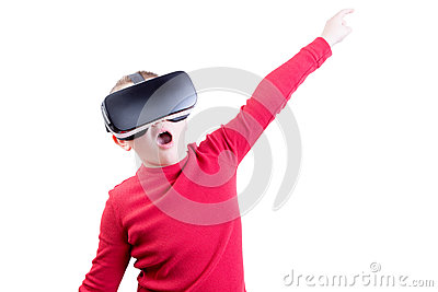 Child flying with virtual reality headset on Stock Photo