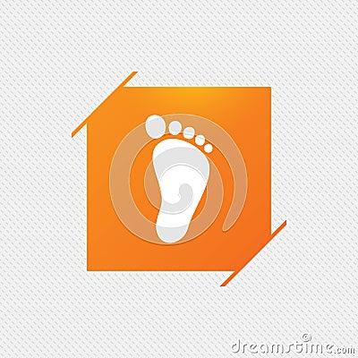 Child footprint sign icon. Barefoot . Vector Illustration