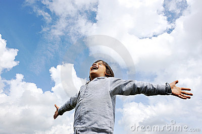 child freedom breathing fresh air royalty free stock
